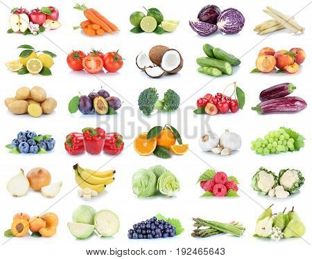 Fruits And Vegetables Collection Apples Oranges Bell Pepper Grapes Bananas Vegetable Food Isolated