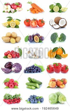 Fruits And Vegetables Collection Apples Oranges Tomatoes Berries Lettuce Vegetable Food Isolated