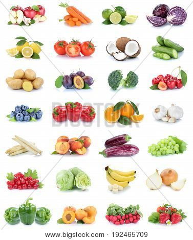 Fruits And Vegetables Collection Apples Oranges Bell Pepper Strawberries Bananas Vegetable Food Isol