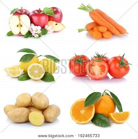 Fruits And Vegetables Collection Apples Oranges Tomatoes Vegetable Food Isolated