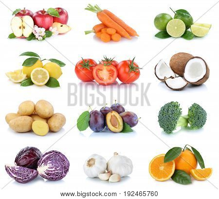 Fruits And Vegetables Collection Apples Oranges Tomatoes Cabbage Vegetable Food Isolated