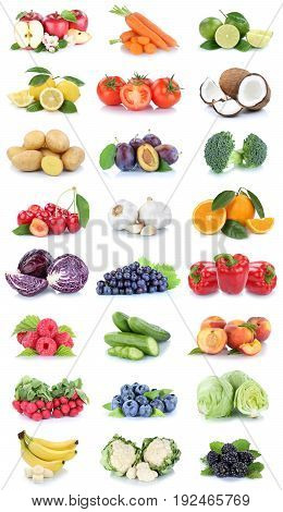 Fruits And Vegetables Collection Apples Oranges Tomatoes Bananas Berries Lettuce Vegetable Food Isol
