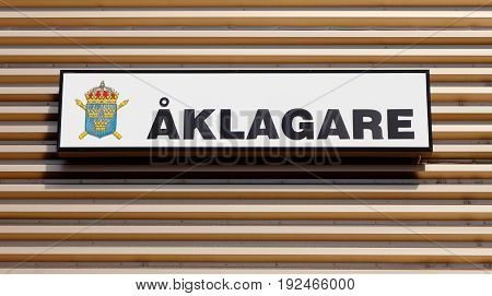 Lulea Sweden - July 19 2016: Close-Up of the prosecutor's (Aklagare) office sign.