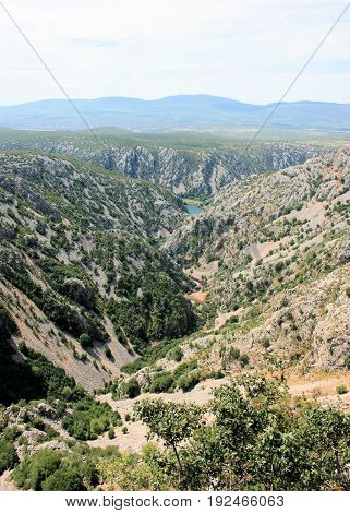 view on the canyon of the Krupa river, Croatia