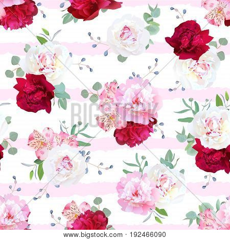 Luxury striped floral seamless vector print with peony, alstroemeria lily, mint eucaliptus and blue berries on white. Pink, white and burgundy red flowers.