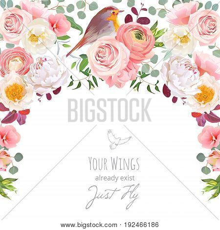 Semicircle garland frame with wild rose, peony, pink ranunculus, peachy carnation, green plants and small robin bird. Cute wedding floral vector design. All elements are isolated and editable.
