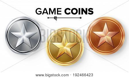 Game Gold, Silver, Bronze Coins Set Vector With Star. Realistic Achievement Icon Illustration. Rank Medals For Game User Interface, Web, Video Game