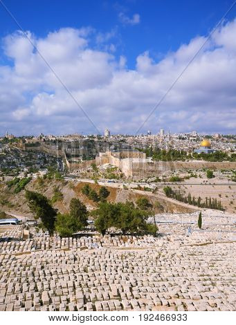 The ancient Jewish cemetery on the Mount of Olives. Ancient Jerusalem and the mosque