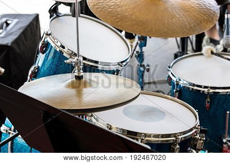 Musical Equipment On Stage. Drum Set Ready For Street Performance.