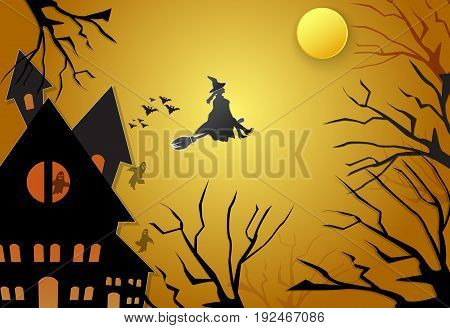 Young witch flying on broom with spooky silhouette Halloween background concept paper art style illustration