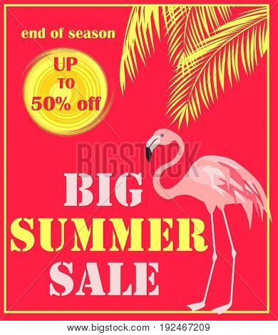 Summer sale red poster with palm leaves, sun and flamingo. Art deco style background for banner, flyer, card, brochure