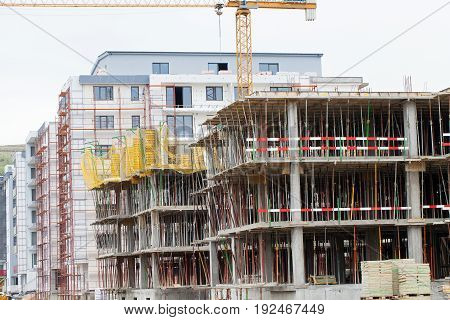 Picture of construction area new residential buildings are in progress in Romania