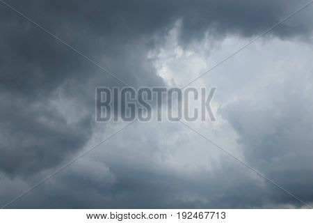 Dark sky with storm clouds Dramatic black cloud and thunderstorm
