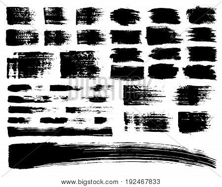 Vector Set of brush acrylic strokes. Black color on white background. Hand painted grange elements. Ink drawing. Dirty artistic design . Place for text, quote, information, company name