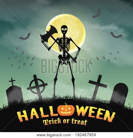 halloween skeleton warriors in a night graveyard