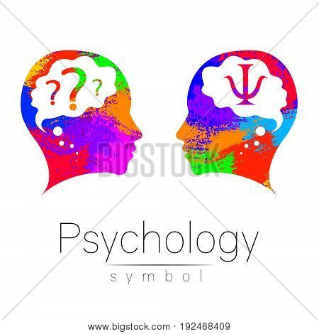 Modern head Logo sign of Psychology. Profile Human. Letter Psi. Creative style. Symbol in vector. Design concept. Brand company. Rainbow color isolated on white background. Icon for web, logotype..