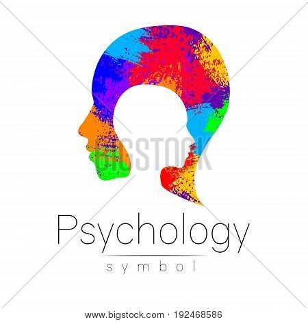 Modern head logo of Psychology. Profile Human. Creative style. Logotype in vector. Design concept. Brand company. Rainbow brush strokes isolated on white background. Symbol for web, print card, flyer