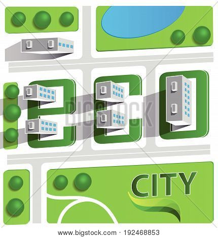 green eco city with private houses panel houses wind turbines and solar panels flat style concept for renewable energy and eco technologies
