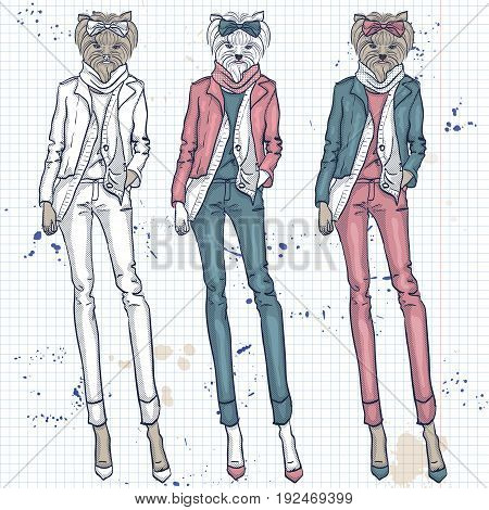 Color set of three models with a dogs head in a bow on hair and lather jacket on a notebook page