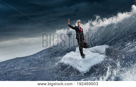 Surfing sea on ice floe