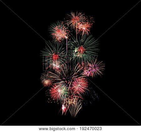 Fireworks on black sky background at night time
