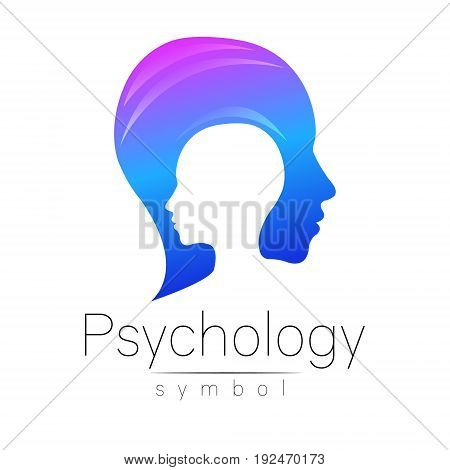 Modern head sign of Psychology. Profile Human. Creative style. Symbol in vector. Design concept. Brand company. Blue color isolated on white background. Icon for web