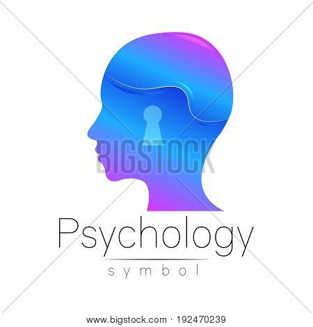 Modern head sign of Psychology. Profile Human. Creative style. Symbol in vector. Design concept. Brand company. Blue color isolated on white background. Icon for web. Keyhole