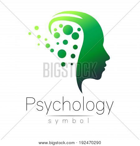 Modern head sign of Psychology. Profile Human. Creative style. Symbol in vector. Design concept. Brand company. Green color isolated on white background. Icon for web