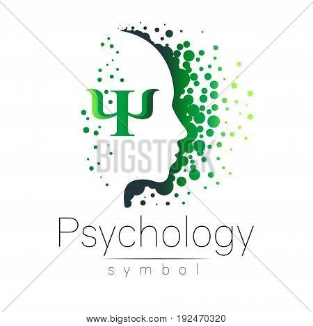 Modern head sign of Psychology. Profile Human. Letter Psi. Creative style. Symbol in vector. Design concept. Brand company. Green color isolated on white background. Icon for web