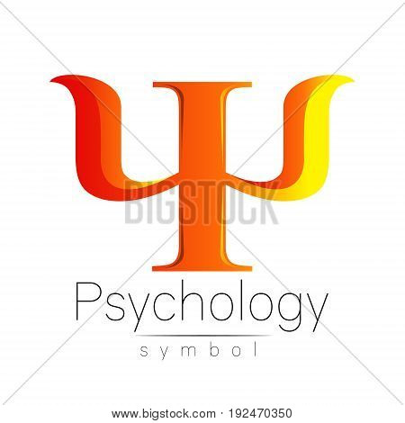 Modern Sign of Psychology.Psi. Creative style. Icon in vector. Design concept. Brand company. Orange color letter on white background. Symbol for web, print, card, flyer. Bright