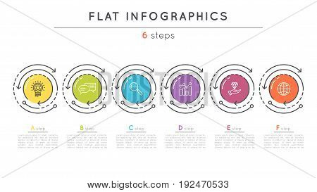 Flat style 6 steps timeline infographic template. Thin line business presentation concept. Expanded stroke.