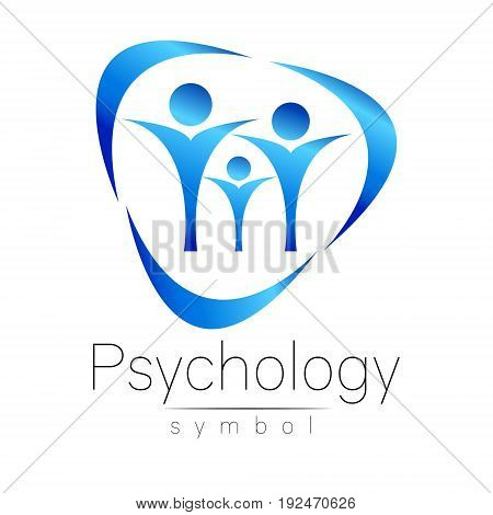Modern people psi Sign of Psychology. Family Human. Creative style. Icon in vector. Design concept. Brand company. blue color isolated on white background. Symbol for web, print,