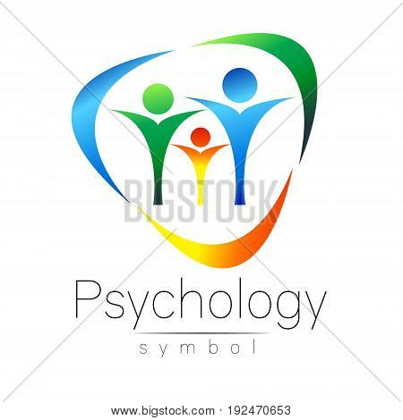 Modern people psi Sign of Psychology. Family Human. Creative style. Icon in vector. Design concept. Brand company. Green blue color isolated on white background. Symbol for web, print,