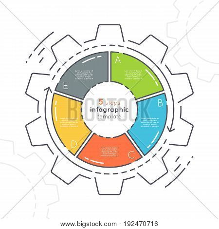 Gear shaped flat style infographic template with 5 steps. Thin line business concept. Expanded stroke.