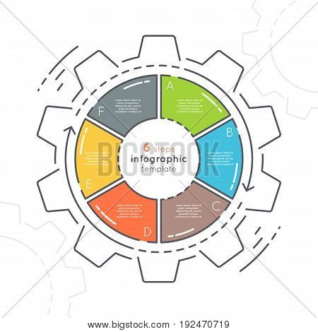 Gear shaped flat style infographic template with 6 steps. Thin line business concept. Expanded stroke.