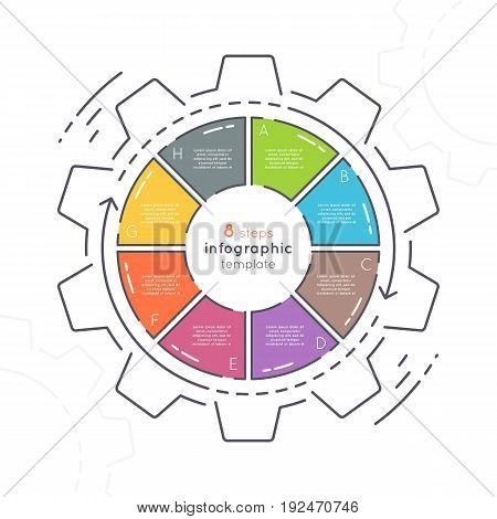 Gear shaped flat style infographic template with 8 steps. Thin line business concept. Expanded stroke.