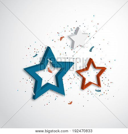 American independence day. Holiday background with 3d stars and confetti. Vector illustration.