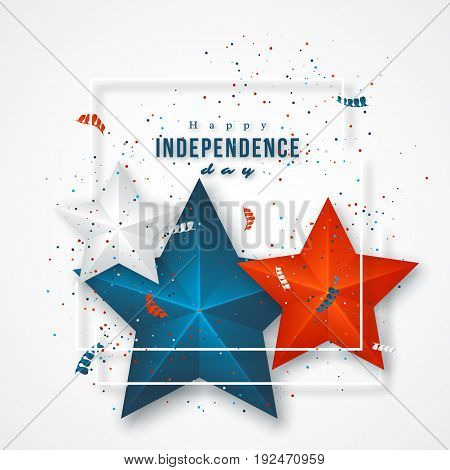 American independence day. Holiday background with frame 3d stars and confetti. Vector illustration.