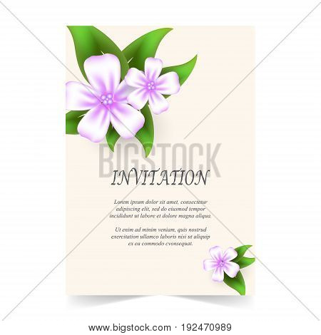 Invitation card wedding card with flowers bouquet in spring time on ivory background