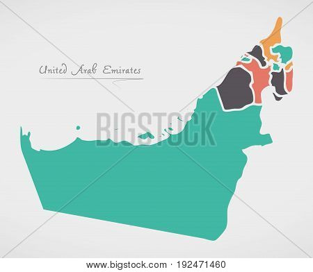United Arab Emirates Map With States And Modern Round Shapes
