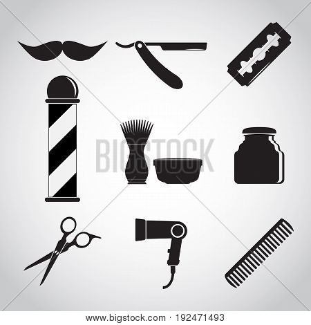 Barber shop and barber pole Hair salon icon set