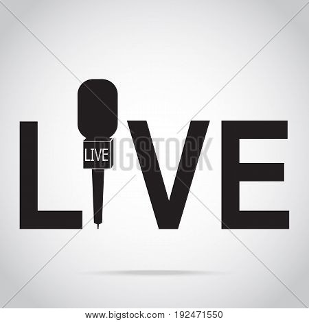 Live stream and microphone icon live streaming sign on air journalist concept