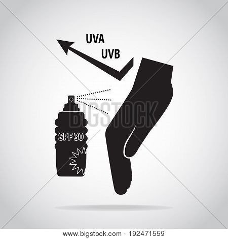 Sunscreen spray in hand protect UVA and UVB icon sunblock SPF 30 protection skin health concept