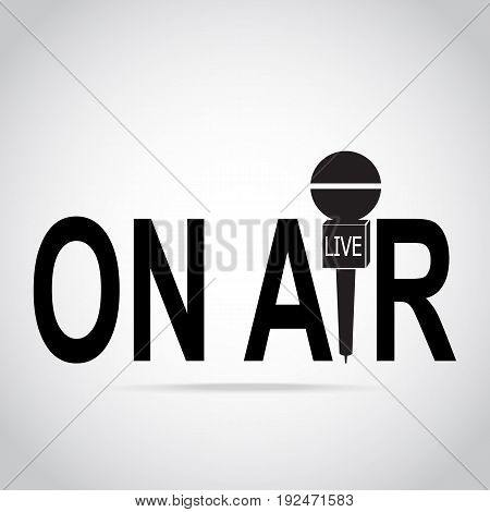 Live stream and microphone icon live streaming sign on air interview answering question concept