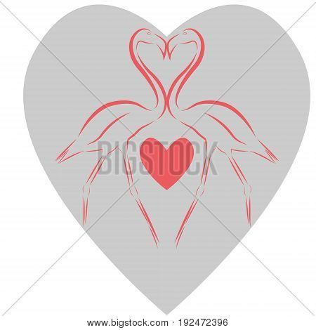 Vector illustration of two pink flamingos touching beaks with a pink heart between their legs against the background of a big gray heart as a symbol of love and fidelity