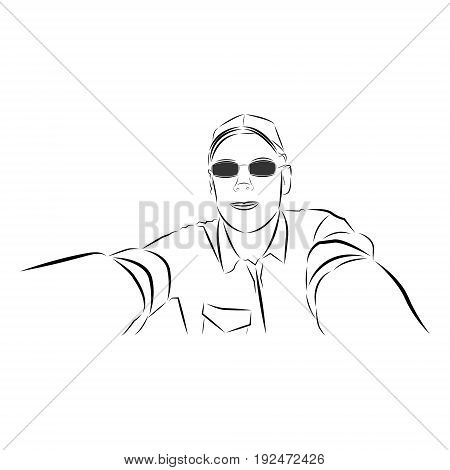 Vector illustration of a young guy in black glasses and a shirt with rolled up sleeves making a selfie painted black brush strokes on a white background.