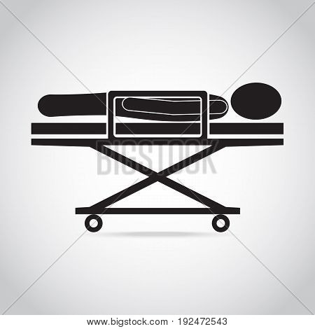 Patient sleep on stretcher medical icon medical concept