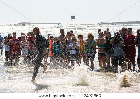 Pescara Italy - June 18 2017: Starting for the swimming test of athlete at Ironman 70.3 Pescara in June 18 2017