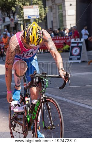 Pescara Italy - June 18 2017: Athlete starts the bicycle test at Pescara's Ironman 70.3