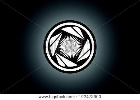 black and white turbine logo design vector, illustration